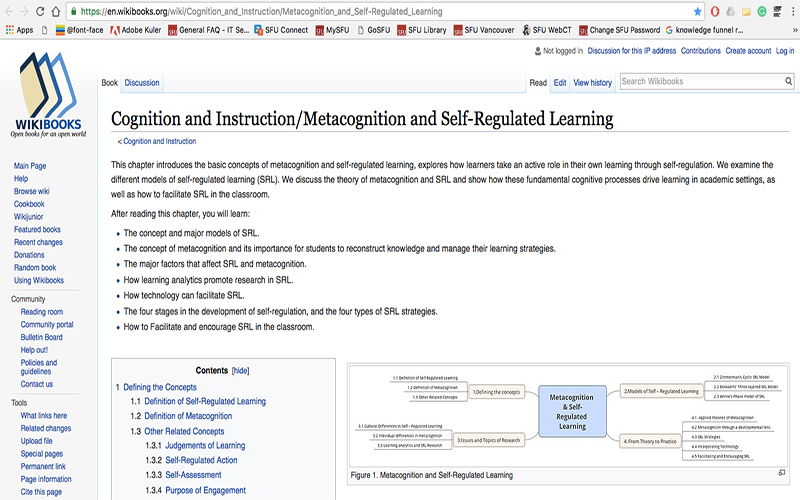 Metacognition and Self-Regulated Learning WikiBook Design
