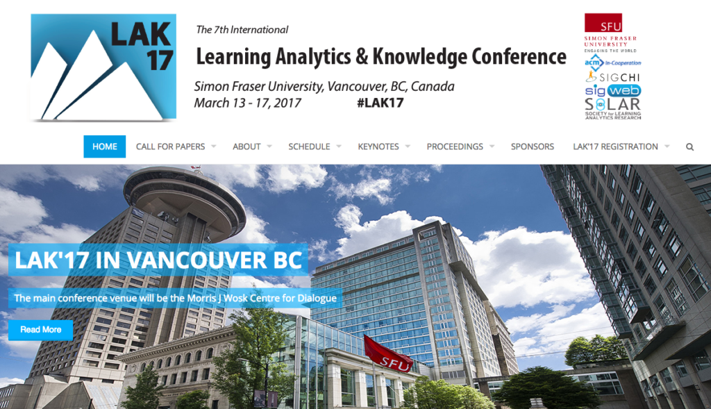 LAK'17 Learning Analytics & Knowledge Conference
